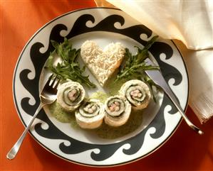 Arugula and Shrimp Stuffed Sole Rolls with Rice Heart