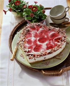 Heart-shaped yoghurt & cherry gateau with grated chocolate (1)