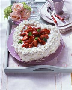 White heart-shaped strawberry truffle gateau (2)