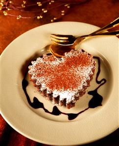 Heart-shaped chocolate cake with chocolate sauce on plate