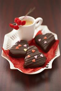 Filled chocolate hearts with coffee