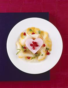 Smoked halibut, heart-shaped beetroot and horseradish mousse