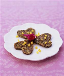 Nut and fig hearts with mango and rose water