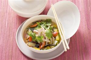 Chinese soup with chicken breast