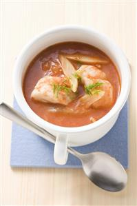 Tomato and fennel soup with redfish