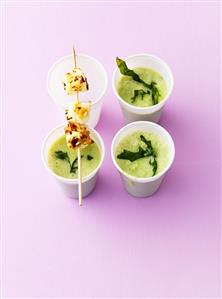 Cucumber soup with sheep's cheese skewer