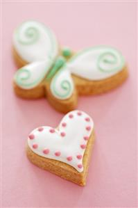 Iced biscuits (heart and butterfly)