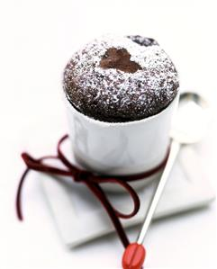 Chocolate soufflé for Valentine's Day